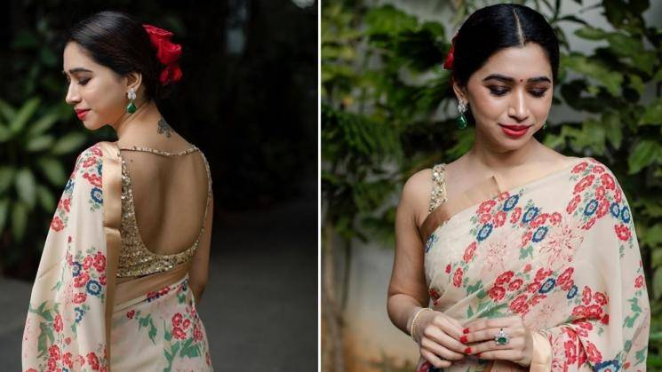 Aarti Ravi looking pretty as a rose in this floral saree