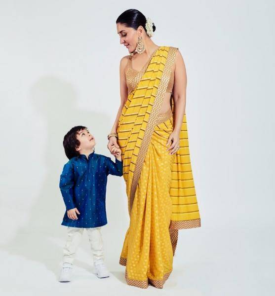 Yes, it is hard to take eyes off little Tim Tim, but look at Kareena Kapoor Khan's stunning saree from Designer Nikasha - Fashion Models