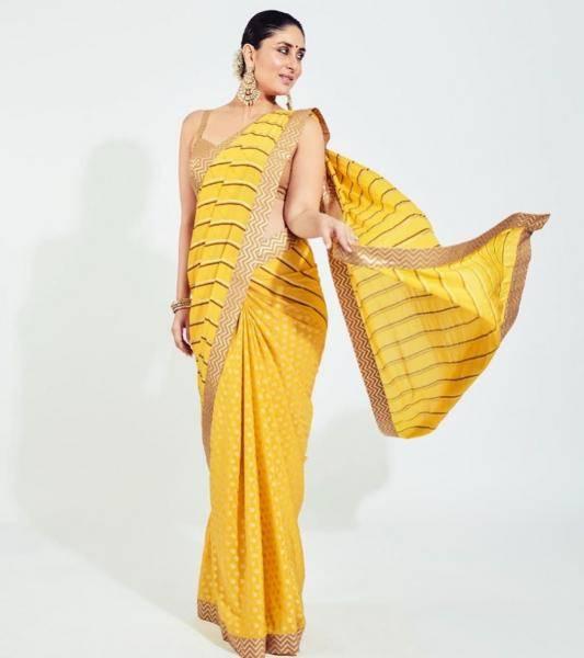 The yellow pitambari leheriya saree has a sexy sleek golden blouse matching its thin gold border  - Fashion Models
