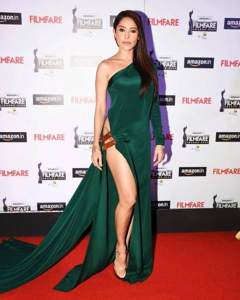 Nushrat Bharucha was seen at the Amazon Filmfare awards event in this smoking hot leather-strapped green dress from Yousef Akbar  - Fashion Models