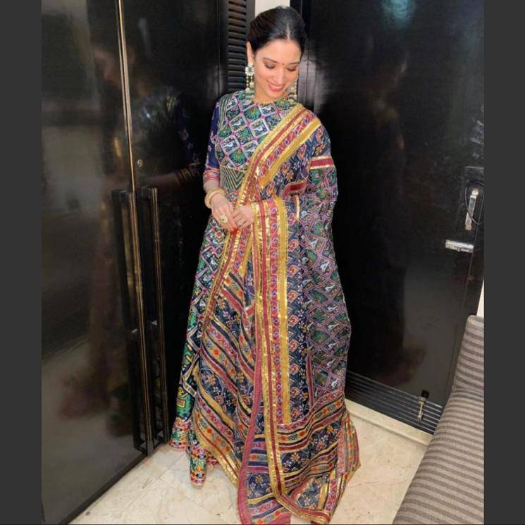 Tamannah Bhatia attended a wedding this week in this awesome kalidaar from Mayyur Girotra  - Fashion Models