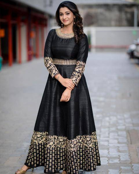 Priya Bhavani Shankar was recently spotted in this beautifully embroidered black Anarkali dress from designer Ashwin Thiyagarajan - Fashion Models