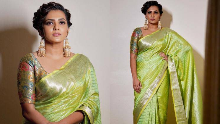 Parvathy's green saree is an any-day-brightener