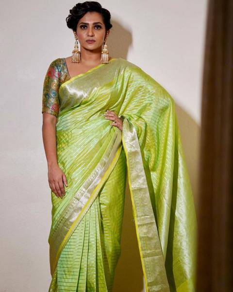 Parvathy Thiruvothu attended the Vanitha Awards wearing this green Kancheepuram saree from Madhurya Creations  - Fashion Models
