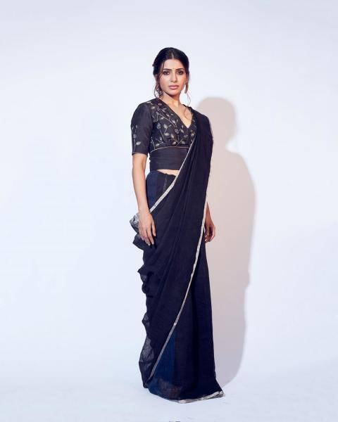 The plain black with embroidery in a light colour is a beautiful saree  - Fashion Models