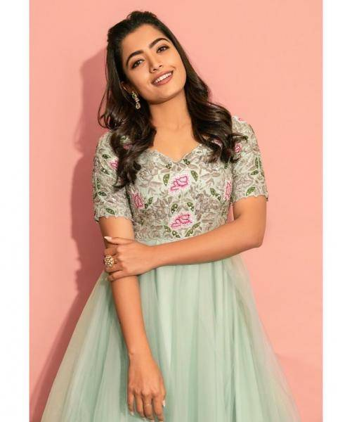 Our very own Rashmika Mandanna was recently seen in this beautfiul pastel gree Anarkali from Geethika Kanumili - Fashion Models