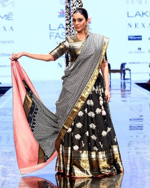 The pallu of the lehenga has its own personality, what with the pink and gold border - Fashion Models