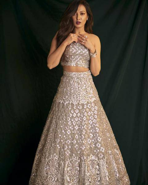 Catherine Tresa was recently spotted in this elaborately worked organza lehenga from Ayushi Bhasin - Fashion Models