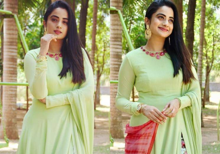 Namitha Pramod's churidar look is cute and cosy