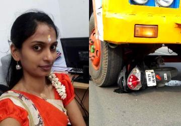 அதிமுக கொடிக் கம்பம் சரிந்து இளம் பெண் மீது லாரி மோதியது! - Daily news