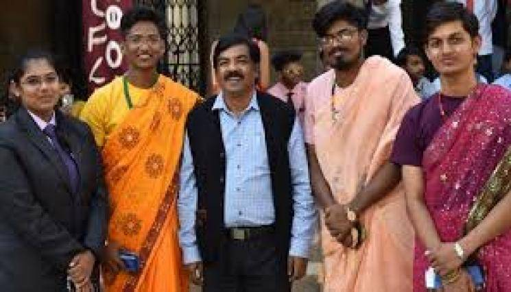 Three boys wear sarees to Pune Fergusson College's 'tie-and-saree' day for gender equality - Daily news