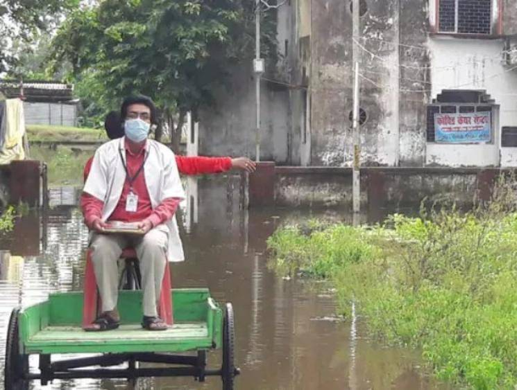 Bihar doctors face struggles to provide treatment for COVID-19 patients due to flooded roads