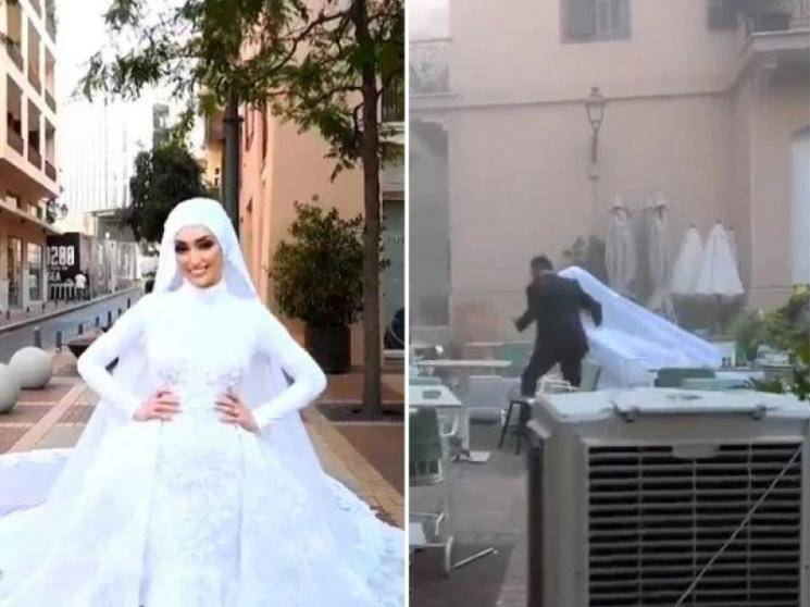 Footage of Lebanese bride's wedding video shoot at the time of Beirut blast goes viral -