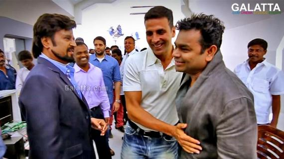 Akshay Kumar, A  R Rahman and <a href='/wikipages/Rajinikanth/' target='_blank'>Rajinikanth</a> in 2 Point 0