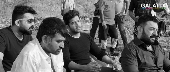 Vijay Sethupathi, STR Simbu, Arvind Swami and Arun Vijay at Chekka Chivantha Vaanam shooting spot