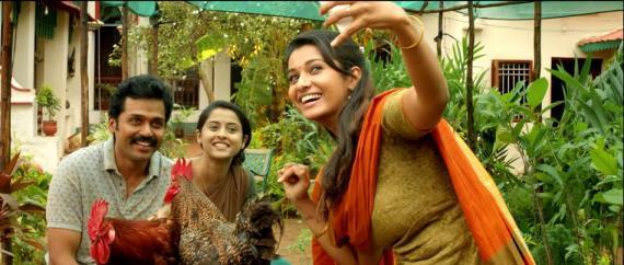 Karthi with Priya Bhavani Shankar and Arthana Binu in Kadai Kutty Singam