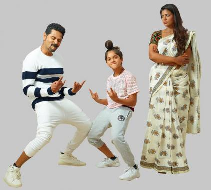 Prabhu Deva, Aishwarya Rajesh and Ditya Bhande in Lakshmi Tamil Movie