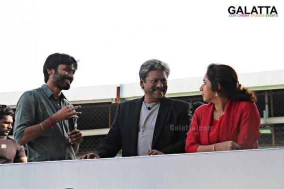 Dhanush with Rajkiran and Revathi at Pa Paandi shooting spot