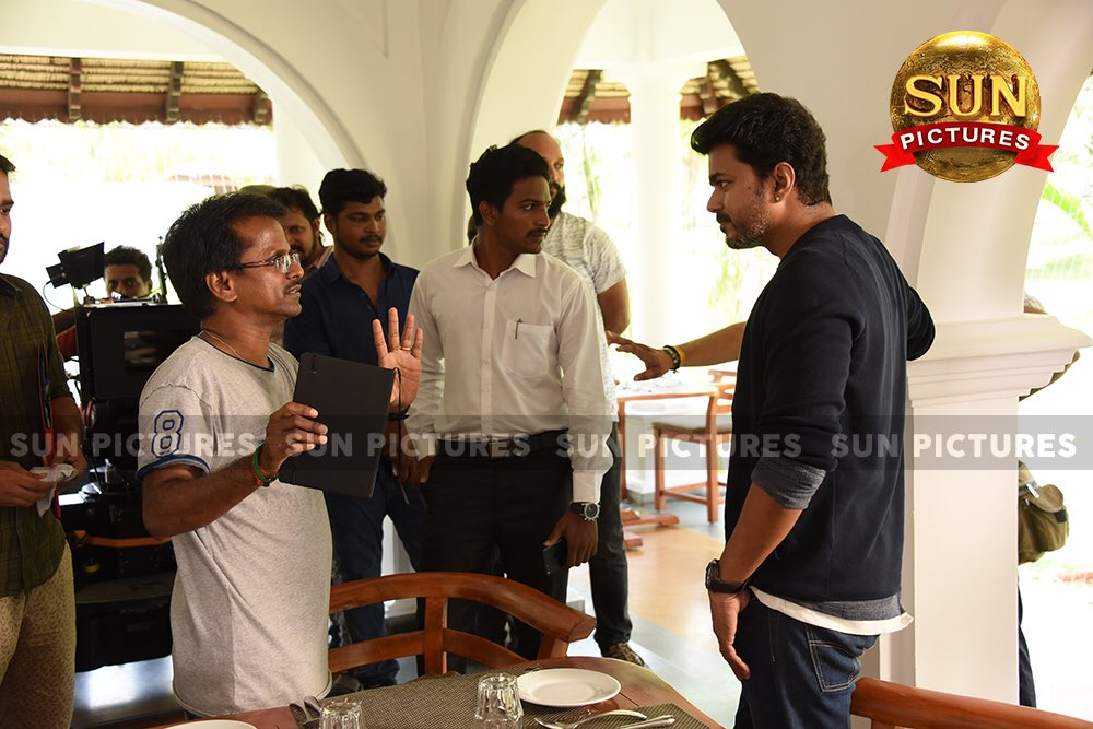 Thalapath Vijay with A R Murugadoss at Sarkar shooting spot, Sarkar working stills