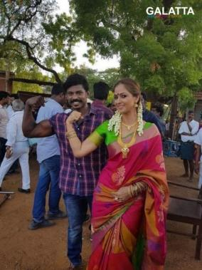 Seema Raja shooting spot with Simran