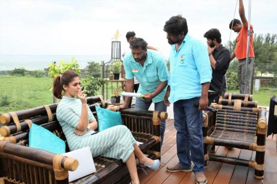 Nayanthara and Director M Rajesh at SK 13 Jithu Jilladi shooting spot