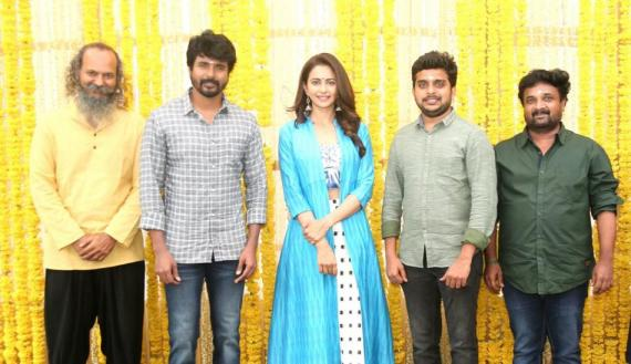 SK 14 pooja with Sivakarthikeyan and Rakul Preet Singh