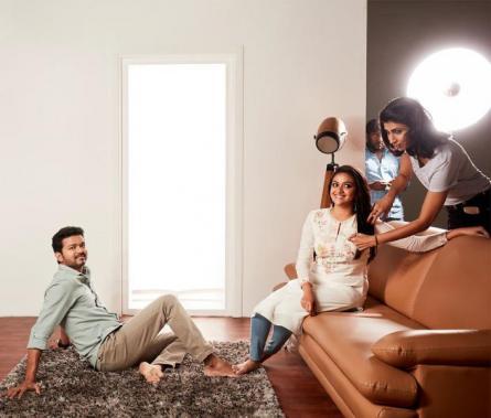 Vijay and Keerthy Suresh during Sarkar shoot