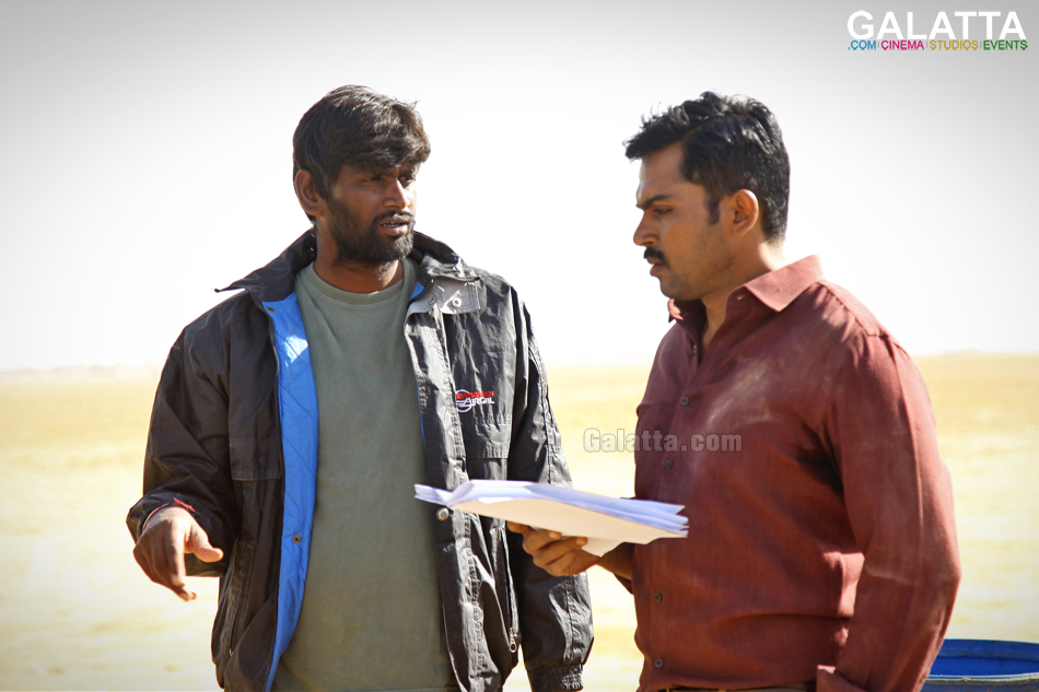 Director H Vinoth with Karthi during Theeran Adhigaaram Ondru shoot