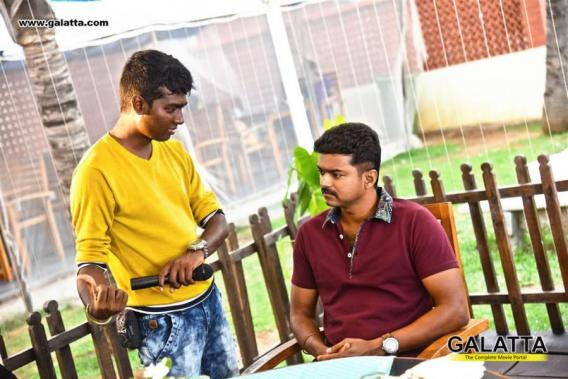 Vijay with Atlee at Theri shooting spot