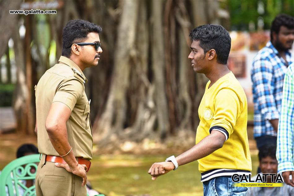 Vijay with Atlee at Theri shooting spot
