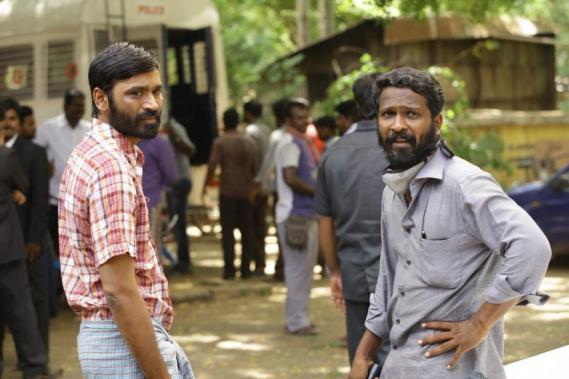 Dhanush and Vetrimaaran at Vada Chennai shooting spot