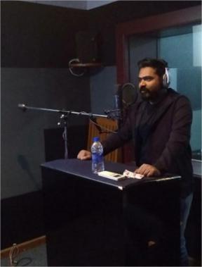 STR Simbu during Vandha Rajavaathan Varuven Teaser dubbing session