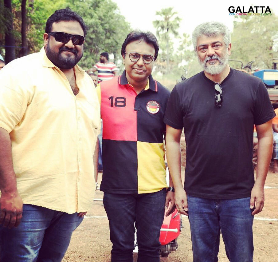 Thala Ajith, director Siva and D Imman at Viswasam shooting spot