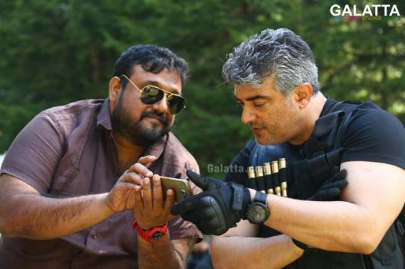 Thala Ajith with director Siva at Vivegam aka. Commando shooting spot