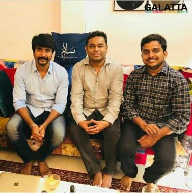 Sivakarthikeyan, Director R Ravikumar and A R Rahman for SK 14