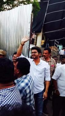 Vijay during Sarkar shooting spot