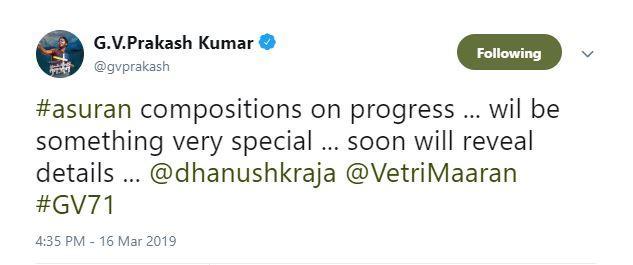 GV Prakash Asuran update
