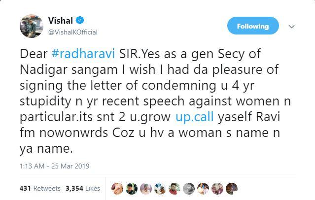 Vishal tweet against Radha Ravi for inappropriate statements aboout Nayanthara at Kolaiyuthir Kaalam trailer launch