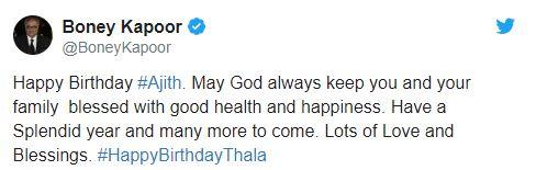 Ajith Birthday Boney kapoor Wish tweet