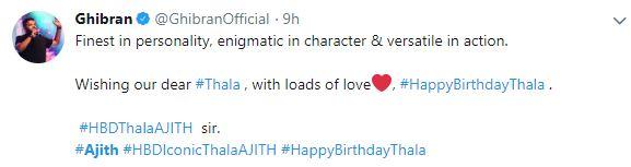 Ajith birthday gibran tweet