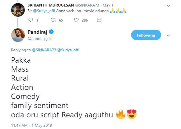 Director Pandiraj Tweet Suriya