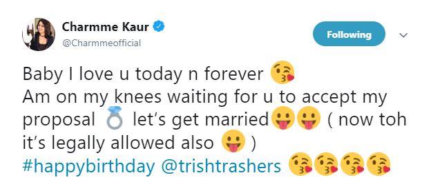 Charmme Kaur Trisha Tweet