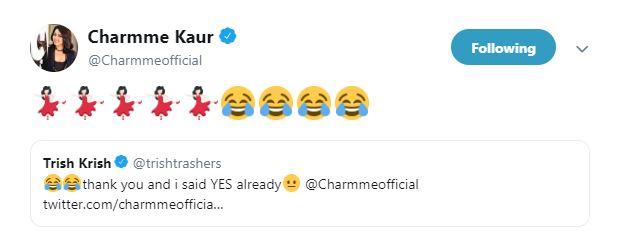 Charmme Kaur tweet