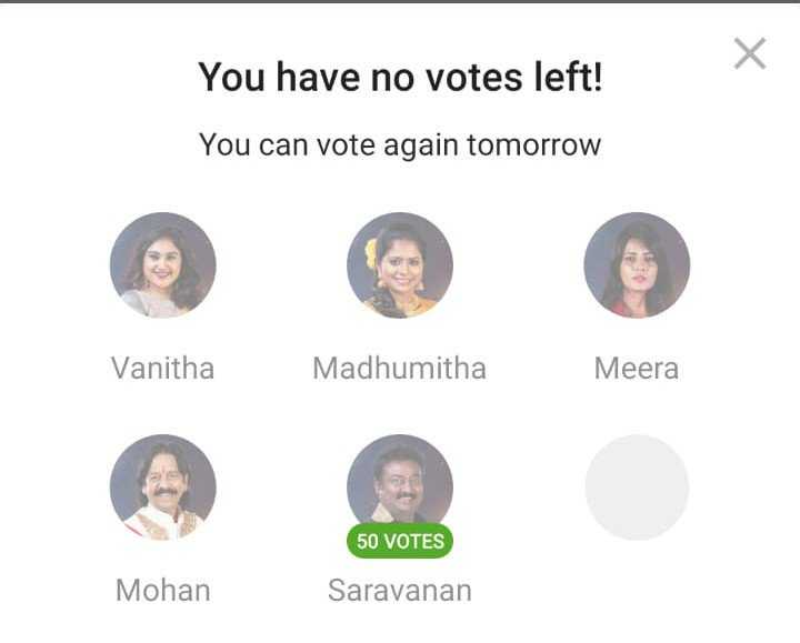 Rio votes for Saravanan BB3