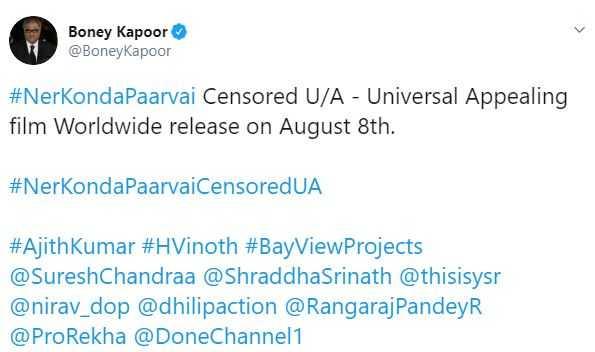 Nerkonda Paarvai censor Thala Aith Boney Kapoor