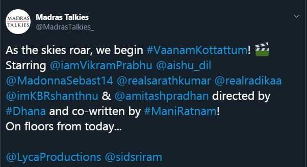 Madras Talkies official tweet