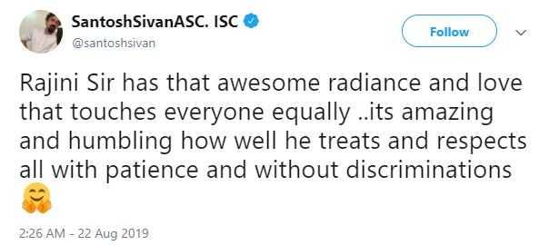 Santhosh Sivan about Rajinikanth at Darbar shooting spot