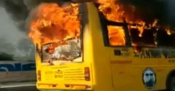 college bus catches fire