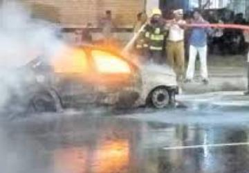 car catches fire