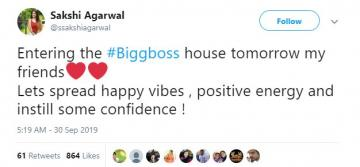 Bigg Boss 3 Sakshi Agarwal re-entry